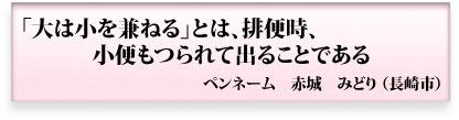 「大は小を兼ねる」とは、排便時、小便もつられて出ることである ペンネーム 赤城みどり 長崎市